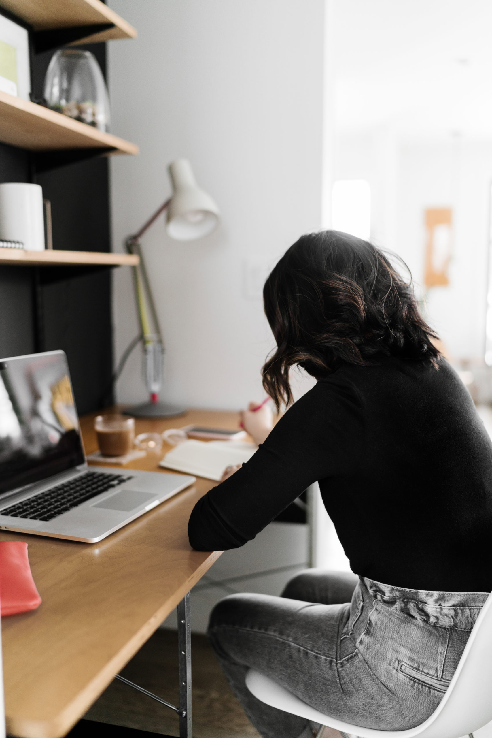 woman at home office desk