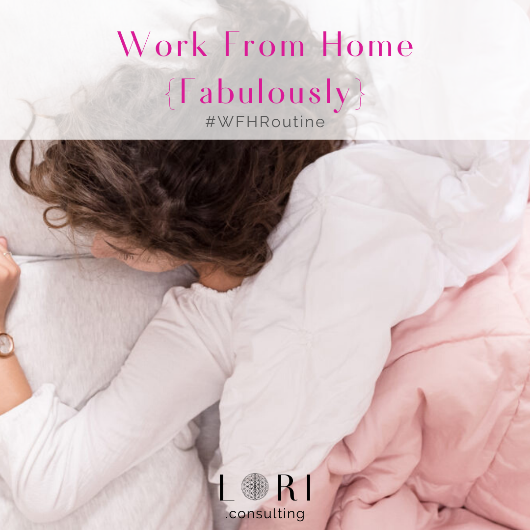 woman in bed routine work from home fabulously lori randall stradtman